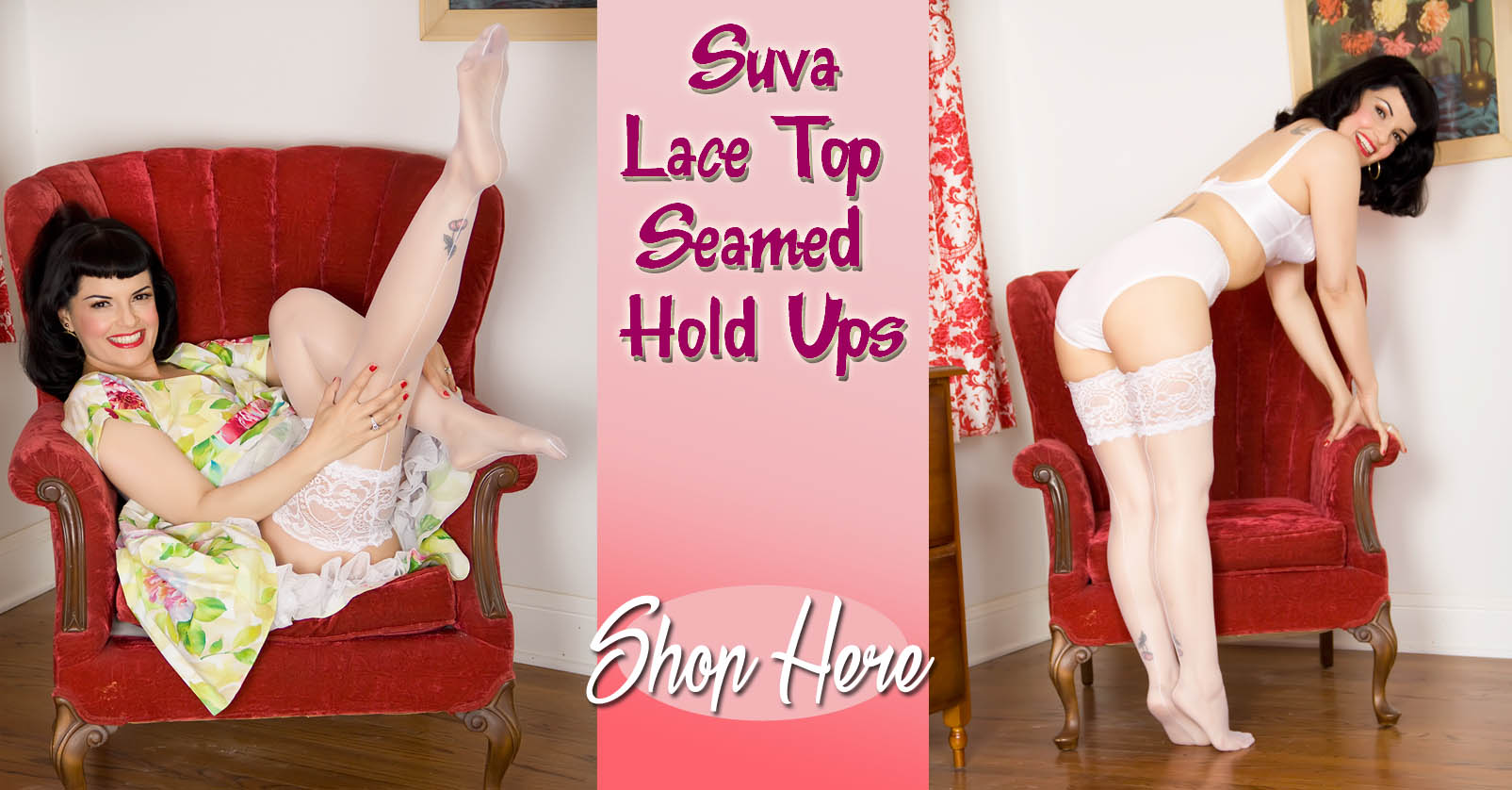 Suva Lace Top Seamed Hold Ups